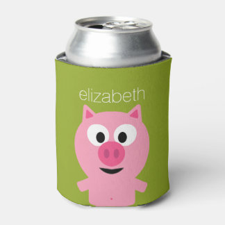 Cute Cartoon Farm Pig - Pink and Lime Green Can Cooler