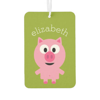Cute Cartoon Farm Pig - Pink and Lime Green Car Air Freshener