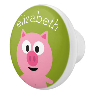 Cute Cartoon Farm Pig - Pink and Lime Green Ceramic Knob