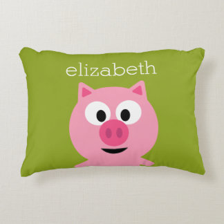 Cute Cartoon Farm Pig - Pink and Lime Green Decorative Cushion