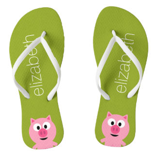 Cute Cartoon Farm Pig - Pink and Lime Green Flip Flops