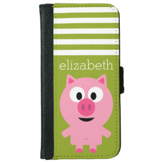 Cute Cartoon Farm Pig - Pink and Lime Green iPhone 6 Wallet Case