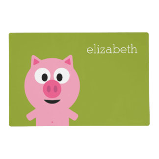 Cute Cartoon Farm Pig - Pink and Lime Green Laminated Place Mat