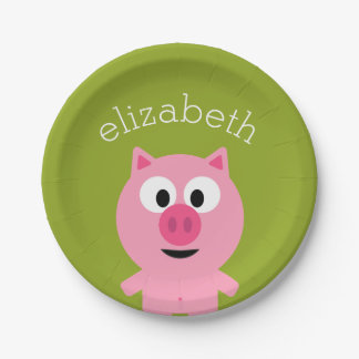 Cute Cartoon Farm Pig - Pink and Lime Green Paper Plate