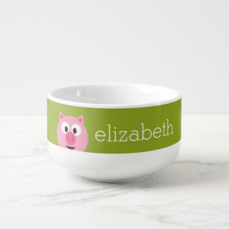 Cute Cartoon Farm Pig - Pink and Lime Green Soup Mug