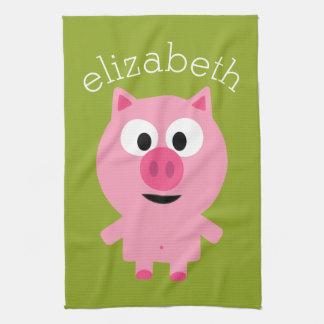 Cute Cartoon Farm Pig - Pink and Lime Green Tea Towel