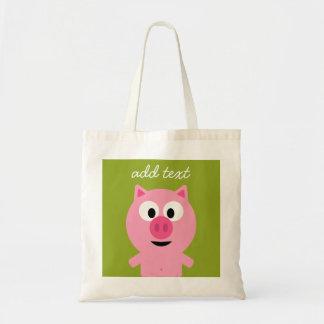 Cute Cartoon Farm Pig - Pink and Lime Green Tote Bag