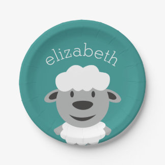 Cute Cartoon Farm Sheep - Teal and gray Paper Plate