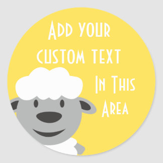 Cute Cartoon Farm Sheep - yellow and gray Classic Round Sticker