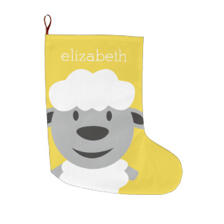 Cute Cartoon Farm Sheep - yellow and gray Large Christmas Stocking