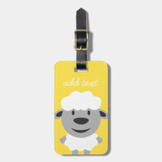 Cute Cartoon Farm Sheep - yellow and gray Luggage Tag