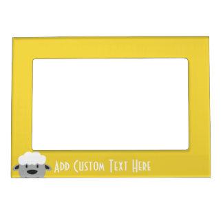 Cute Cartoon Farm Sheep - yellow and gray Magnetic Frame