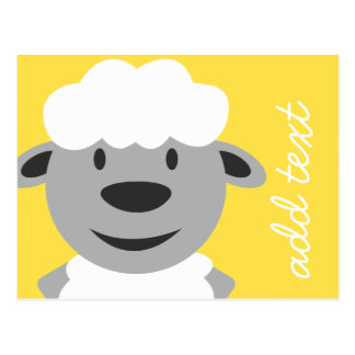 Cute Cartoon Farm Sheep - yellow and gray Postcard