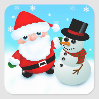 Cute cartoon father christmas with a snowman square sticker