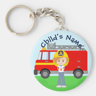 Cute Cartoon Firefighter Kid and Red Fire Truck Key Ring