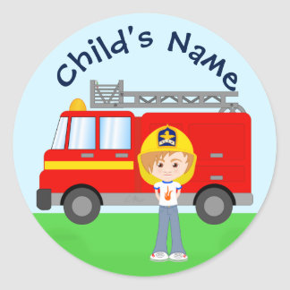 Cute Cartoon Firefighter Kid and Red Fire Truck Round Sticker