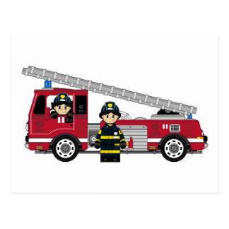 Cute Cartoon Fireman and Fire Engine Postcard