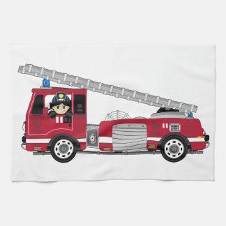 Cute Cartoon Fireman and Fire Engine Tea Towel