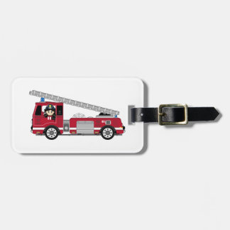 Cute Cartoon Fireman and Fire Engine Travel Bag Tags