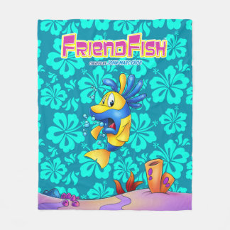 Cute cartoon fish fleece blanket