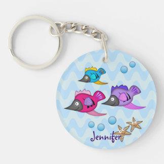 Cute cartoon fish keychain with Name