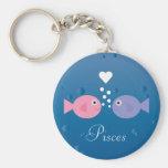 Cute Cartoon Fish Pisces Zodiac Sign Custom Basic Round Button Key Ring