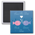 Cute Cartoon Fish Save The Date Customisable Square Magnet