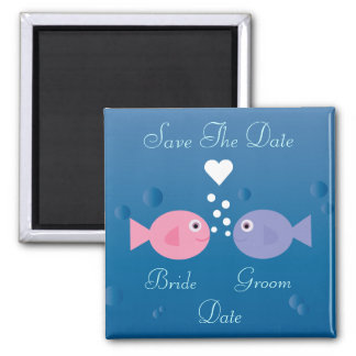 Cute Cartoon Fish Save The Date Customizable Square Magnet
