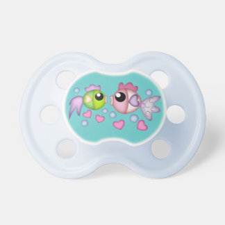 Cute cartoon fish with hearts & bubbles Pacifier