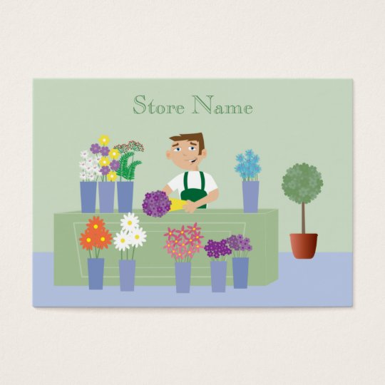 Cute Cartoon Florist & Flowers Business Cards