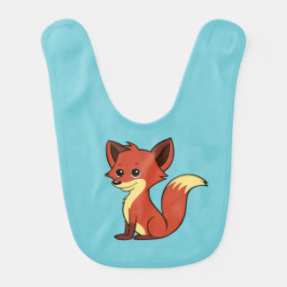 Cute Cartoon Fox Light Blue Baby Bib