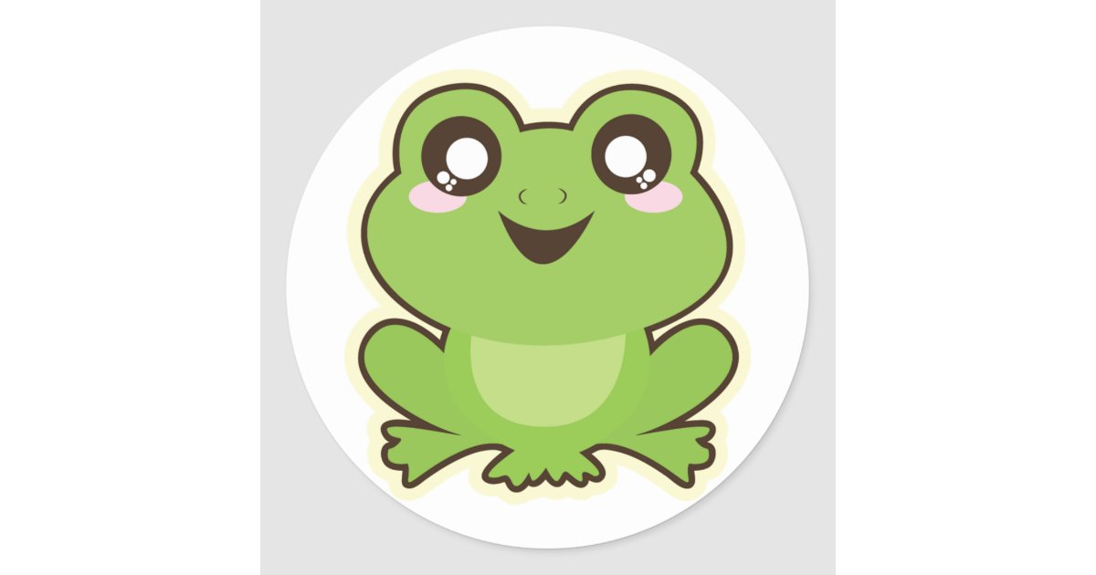 cute cartoon frog classic round sticker zazzle co uk
