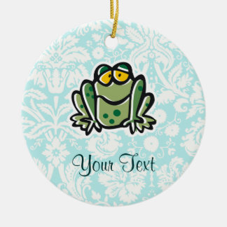 Cute Cartoon Frog Double-Sided Ceramic Round Christmas Ornament