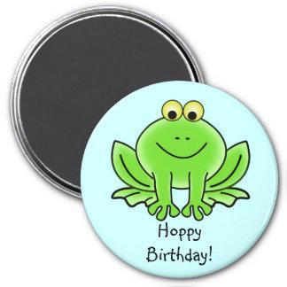 Cute Cartoon Frog Hoppy Birthday Funny Greeting 7.5 Cm Round Magnet