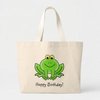 Cute Cartoon Frog Hoppy Birthday Funny Greeting Jumbo Tote Bag