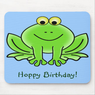 Cute Cartoon Frog Hoppy Birthday Funny Greeting Mouse Pad