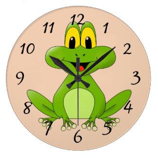 Cute cartoon Frog Large Clock