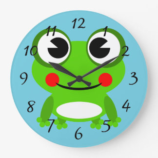 Cute cartoon Frog Large Clock