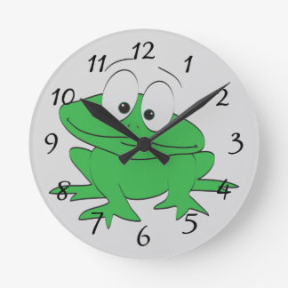 cute cartoon frog round clock