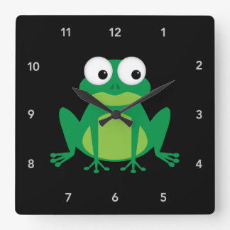 Cute Cartoon Frog Square Wall Clock