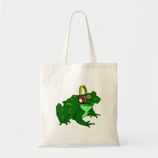 Cute Cartoon Frog Wearing Headphones Budget Tote Bag