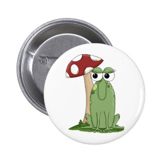 Cute Cartoon Frog With Mushroom Toadstool Design Pin