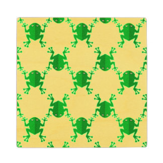 Cute Cartoon Frogs Wood Coaster