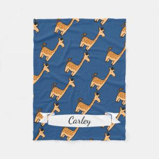Cute Cartoon Funny Giraffe & Name in Script Fleece Blanket
