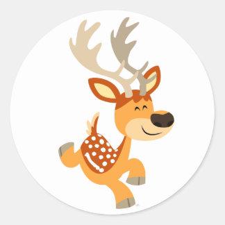 Cute Cartoon Gamboling Fallow Deer Sticker