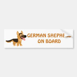Cute Cartoon German Shepherd Dog Bumper Sticker