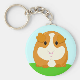 Cute Cartoon Ginger Brown Guinea Pig Basic Round Button Key Ring