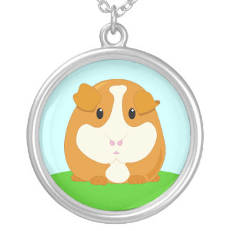 Cute Cartoon Ginger Brown Guinea Pig Silver Plated Necklace