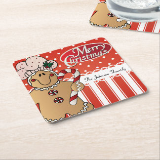Cute Cartoon Gingerbread Man Square Paper Coaster