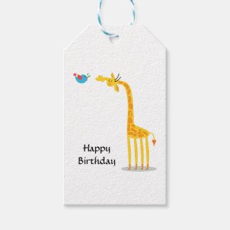 Cute cartoon giraffe and bird